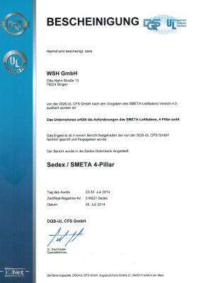 Sedex Zertifikat
